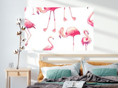 Watercolor flamingo seamless pattern. Hand painted texture with bright exotic birds on white background. Fashion wallpaper design with wild animals