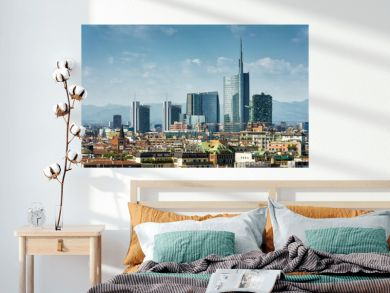Milan skyline with modern skyscrapers