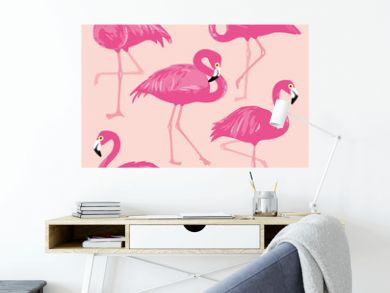 Vector set with pink flamingos. Hand Drawn illustration