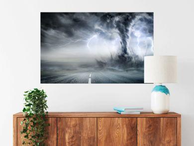 Powerful Tornado On Road In Stormy Landscape