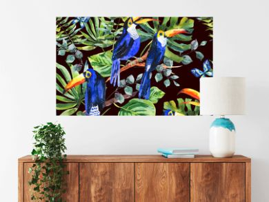 Tropical watercolor seamless pattern with toucan, exotic green l