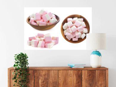 sweet marshmallows on white background
