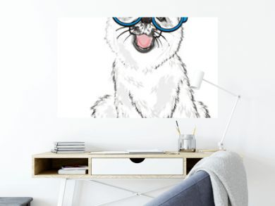 Husky, White Husky, Dog, Puppy, Friend, Pet, Illustration, White Dog, Furry Dog, White Puppy, Husky Puppy, year of dog, blue, round, glasses