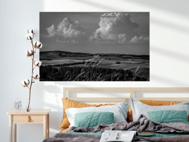 Rural landscape in summer, Hungary, black and white. Panoramic view of country fields, hills in background, dramatic sky and clouds.