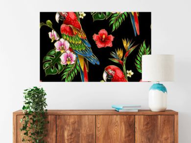 Seamless pattern with ara parrot, palm leaves and hibiscus embroidery. Tropical texture for print.