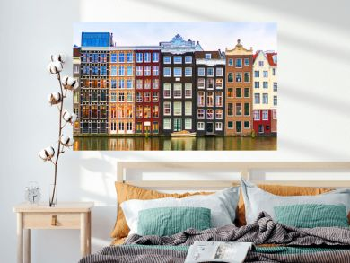 Amsterdam, The Netherlands, May 4th 2017:  Row of authentic canal houses on the Rokin in Amsterdam