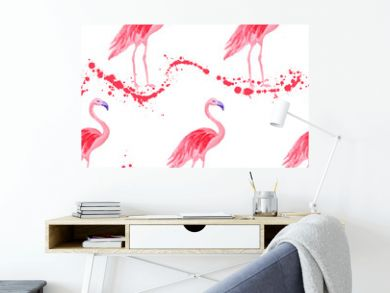 Fashionable flamingo watercolor seamless pattern. Paint splashes waves backdrop, pink stains wavy splatter. Flamingo pink bird watercolor fabric background, seamless fashionable pattern design.