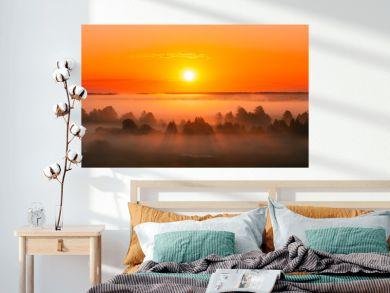Amazing Sunrise Over Misty Landscape. Scenic View Of Foggy Morning Sky