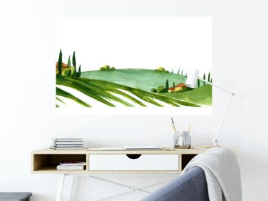 Watercolor illustration of small village in Europe. Alpine landscape on white background