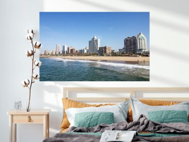 Ocean and Beach Against City Skyline Durban South Africa