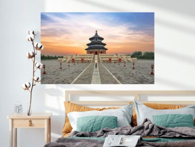 Wonderful and amazing Beijing temple - Temple of Heaven in Beijing, China. Hall of Prayer for Good Harvest..