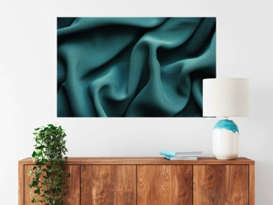 green fabric with large folds,  abstract background