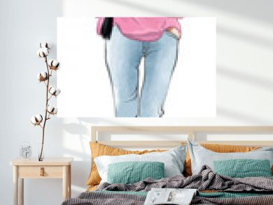 Stylish fashion model woman in jeans