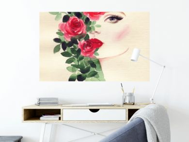 beautiful woman and flowers . fashion illustration. watercolor painting