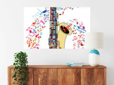 Saxophone and musical notes