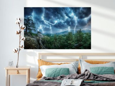 Lightning thunderstorm flash in the mountains. Concept on topic weather, cataclysms (hurricane, Typhoon, tornado, storm)