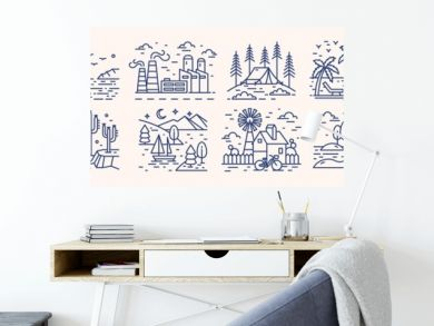 Collection of picturesque landscape icons or symbols drawn with contour lines on light background. Bundle of beautiful linear natural sceneries. Monochrome vector illustration in lineart style.