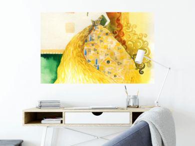 golden fantasy dress. beautiful woman. fashion illustration. watercolor painting