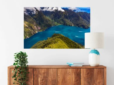 New Zealand. Milford Sound (Piopiotahi) from above - the Sound's mouth on the right side