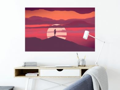 The girl stands on the hill and looks at the sunset. Illustration painting