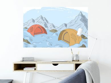 Camping graphic color snow mountain landscape sketch illustration vector