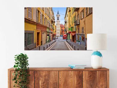 Town of Nice colorful street architecture and church view