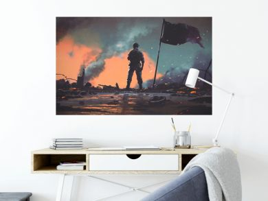 soldier standing alone after the war in battlefield, digital art style, illustration painting