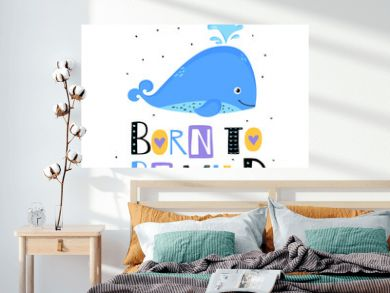 Cute whale print. Vector illustration.