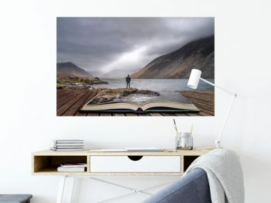 Stunning long exposure landscape image of Wast Water in UK Lake District coming out of pages in story book