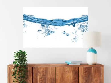 fresh blue natural drink water wave wide panorama with bubbles concept isolated white background