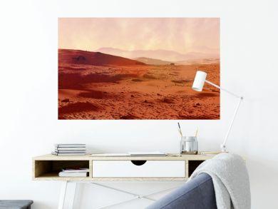 landscape on planet Mars, scenic desert on the red planet (3d space rendering banner)