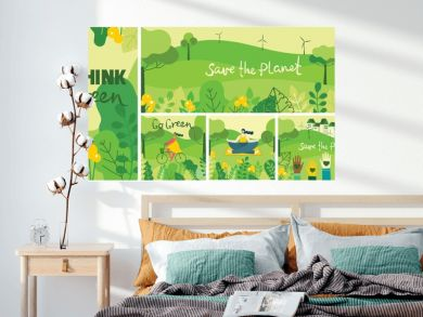 Vector illustration ECO background of Concept of green eco energy and quote Save the planet. Landscape, forest, people activists with eco banners in flat geometric style.