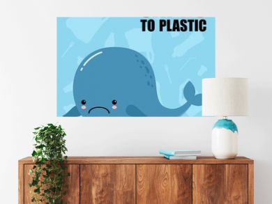 Plastic Pollution in the sea. Cute cartoon sad whale. Ecological blue poster, paper art and digital crafts style. seagull sitting on Flowing Plastic Bottle. Say no to plastic