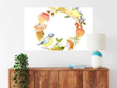 Autumn leaf, berries and Tomtit birds Frame isolated on a white background. Watercolor hand drawn Bird BlueTit sitting on the Branch. Greeting card, poster, banner concept with copy space for text.