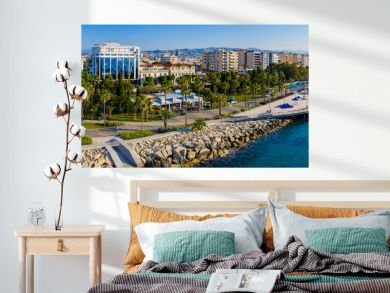 Republic of Cyprus. Limassol. The Seafront Of Limassol. The mediterranean coast. Tourist area with hotels. Panorama of Cyprus on a Sunny day. Rest on the Mediterranean.