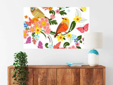 colorful greeting card with cute birds on beautiful ornamental f