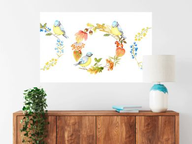 Autumn leaf, berries and Tomtit birds Frame set isolated on a white background. Watercolor hand drawn Bird BlueTit sitting on the Branch. Greeting card, poster, banner concept with copy space for text