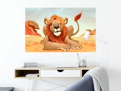 Happy Lion in the savannah