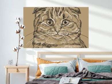 Brown vector cat portrait 4