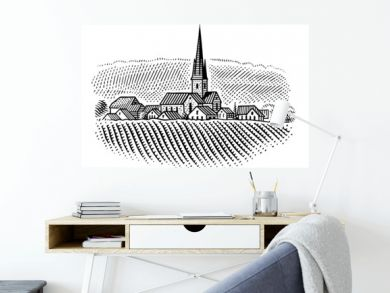 European village/vineyard landscape  illustration. Vector.