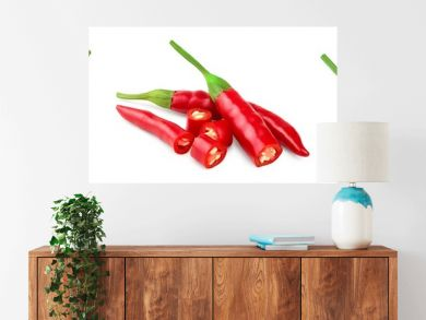 red hot chili peppers isolated on white background. Set or collection