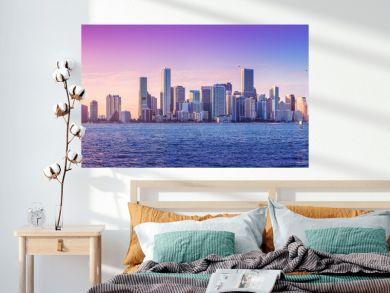 panoramic view at the skyline of miami while sunset