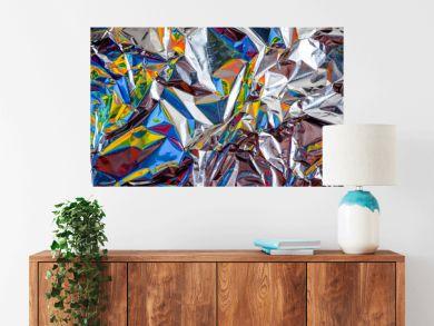 rainbow aluminium foil crumpled Silver texture abstract background