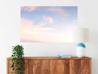 light soft panorama sunset sky background with pink clouds
