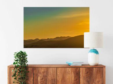 Panorama of Mountain Horizon at Sunset