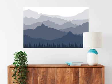 A landscape with a perspective view of the mountains in several layers. Banner with a silhouette of a forest and mountains. Misty morning view in the Alps. Simple vector illustration.