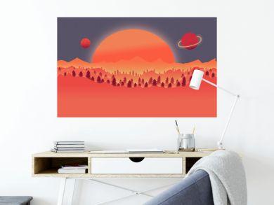 Desert wild nature landscape with tree plants illustration background
