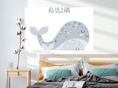 Vector hand drawn poster for nursery decoration with cute whales and lovely slogan. Doodle illustration. Perfect for baby shower, birthday, children's party, spring holiday, clothing prints