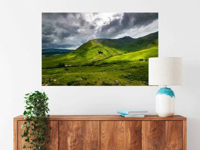 Scottish Highlands summer landscape in Glen Strae. Green valley with dramatic storm clouds near Dalmally, Scotland.