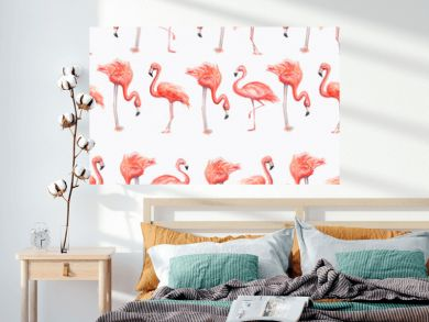 Aquarelle painting of flamingo sketch art pattern illustration